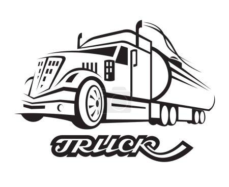 Illustration pour Illustration monochrome de camion à carburant avec citerne - image libre de droit
