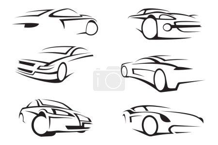 Illustration pour Ensemble de six voitures monochromes - image libre de droit