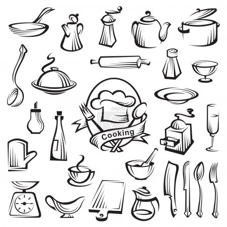 Illustration for Kitchen tools and cooking design elements - Royalty Free Image