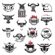Set of fifteen beef meat icons...