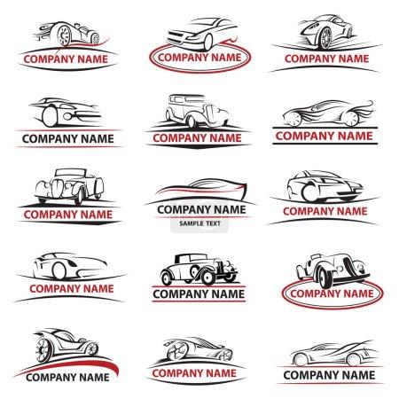 Illustration pour Ensemble de quinze icônes de voiture - image libre de droit
