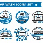 Set of six car wash icons...