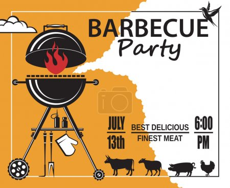 Illustration for Design of invitation card on barbecue party - Royalty Free Image