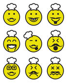 Set of nine smiley mustachioed chef faces
