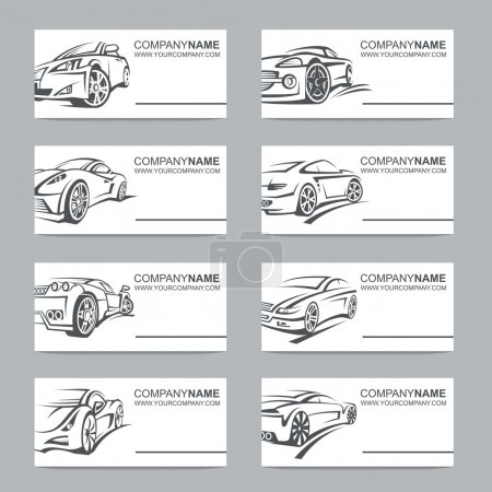 set of car business cards