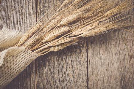 Photo pour Oreilles de blé sur fond de bois rustique et toile de jute - image libre de droit