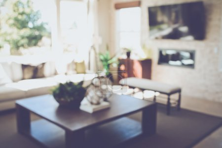 Photo for Blurred Modern Living Room with Television applying Retro Instagram Style Filter - Royalty Free Image
