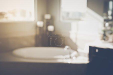 Blurred Bathroom with Bathtub