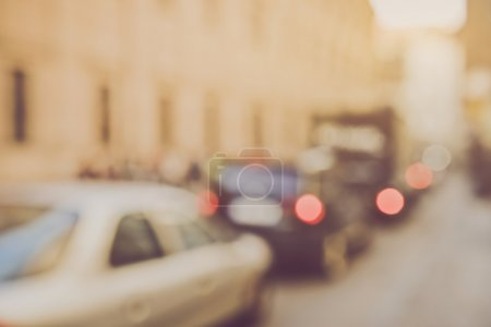 Foto de Blured Cars in Traffic with Retro Instagram Style Filter - Imagen libre de derechos