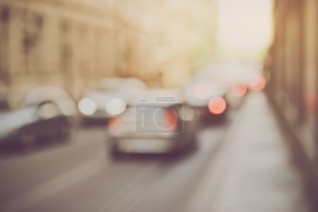 Photo for Blured Cars in Traffic with Retro Instagram Style Filter - Royalty Free Image