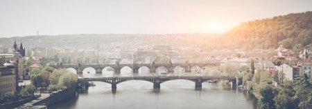 Prague Bridges on sunset