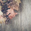 Autumn Leaves on Rustic Wood Background with Insta...