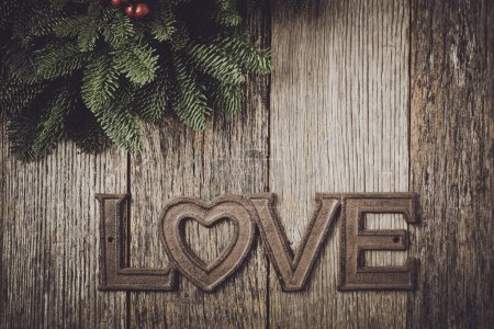 Love Text with Pine Branches