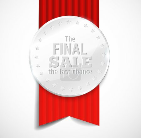 Illustration for Round polished silver metal badge with red ribbon on light background. The final sale.  illustration. - Royalty Free Image