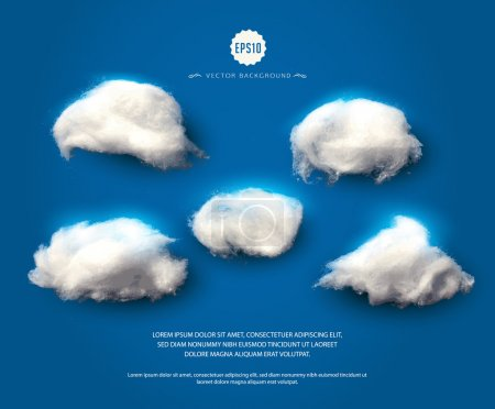 Illustration for Set of cotton clouds. Wadding clouds on blue night-sky background. Vector illustration - Royalty Free Image