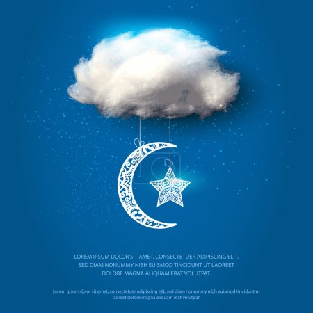 Illustration for Cotton cloud with lace moon and star. Vector illustration. - Royalty Free Image