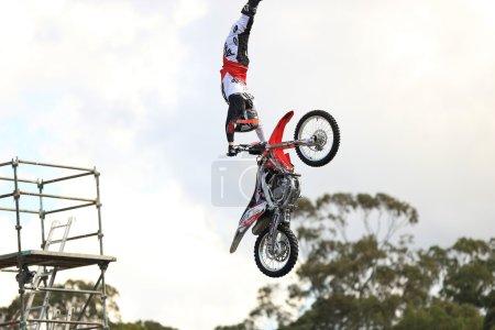 Motorcycle Making Jump in Air