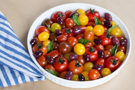 Rustic Heirloom Cherry Tomato Salad with Basil and Olives