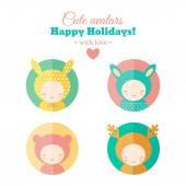 Vector set of holiday carnival avatars