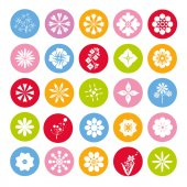 Collection of 25 colorful flowers button round flower icons