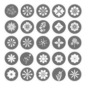 Collection of 25 flowers button round flower icons