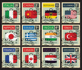 stamps with flags of different countries