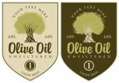 Set of labels for olive oil with olive tree