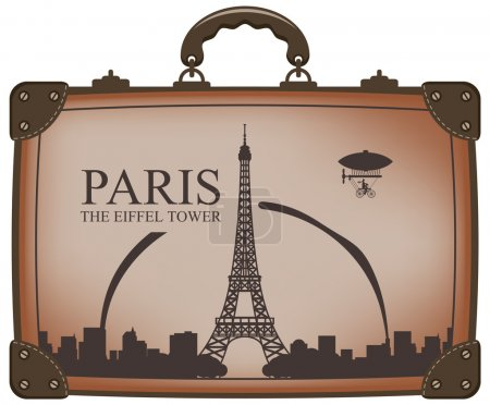 Illustration for Travel bag with Paris and the Eiffel Tower - Royalty Free Image