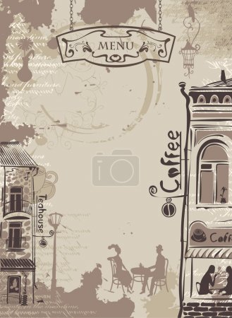 Background texture with drops of coffee with drawi...