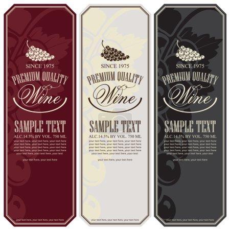 Illustration pour Jeu d'étiquettes vectorielles pour le vin avec raisins - image libre de droit