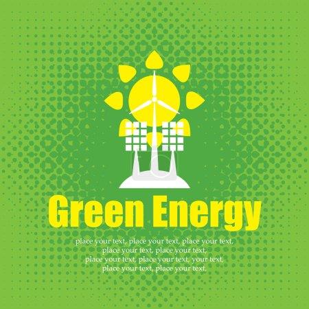 Illustration pour Concept vectoriel d'énergie verte avec panneaux solaires et éoliennes - image libre de droit