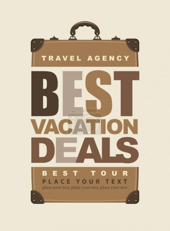 Illustration for Poster for travel with the inscription best vacation deals and retro suitcase - Royalty Free Image