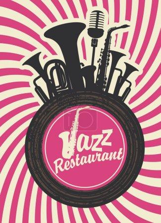 Illustration pour Bannière pour restaurant de jazz avec instruments à vent et disque vinyle - image libre de droit