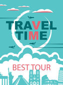 Banner for travel agencies with the architectural and historical sights of an airplane
