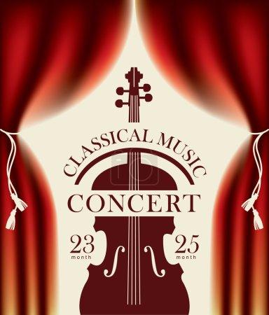 Illustration pour Affiche pour un concert de musique classique avec une scène et en coulisses et violon - image libre de droit