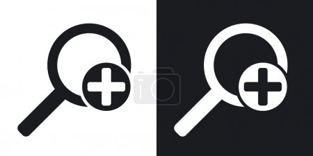 magnifier icons with plus sign.