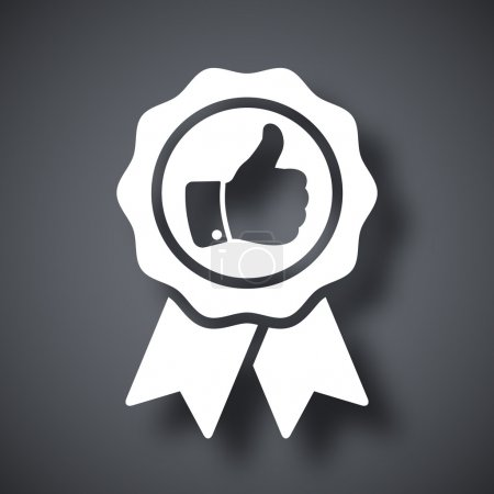 Illustration for Black and white badge with thumbs up icon - Royalty Free Image