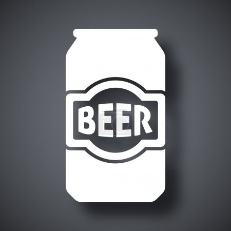 Illustration for Beer can black and white  icon - Royalty Free Image