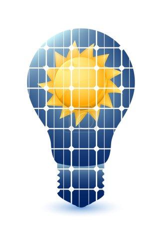 Illustration pour Ampoule à panneaux solaires texture et soleil - image libre de droit