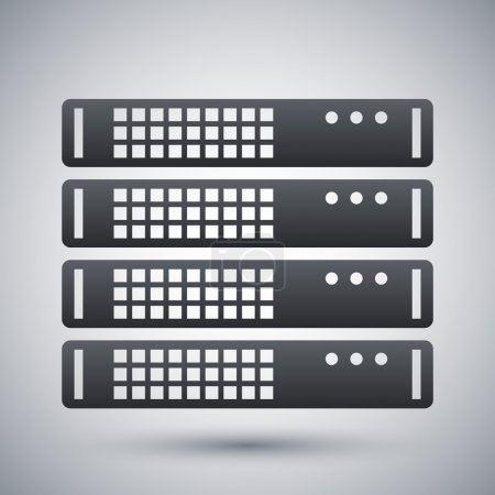 Black and white server rack icon