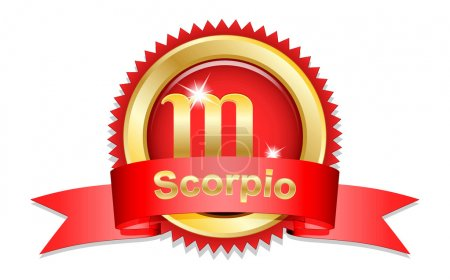 Illustration for Scorpio zodiac sign with red ribbon.  Vector illustration - Royalty Free Image