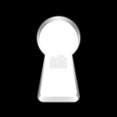White blank keyhole on black background. vector il...