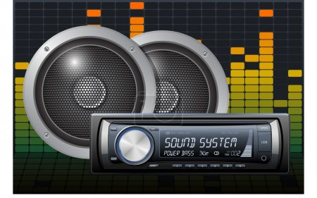 Car audio with speakers on the digital equalizer b...