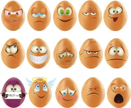Illustration for Smileys eggs emotions - Royalty Free Image