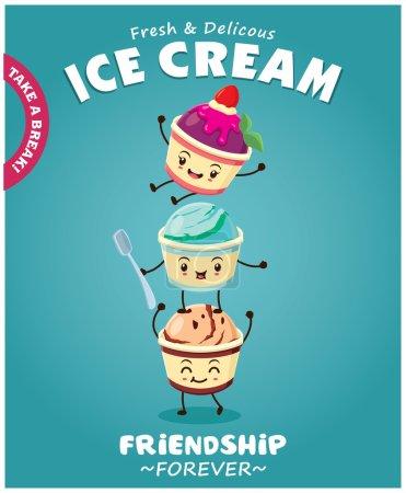 Illustration pour Crème glacée vintage affiche design avec caractère de crème glacée - image libre de droit