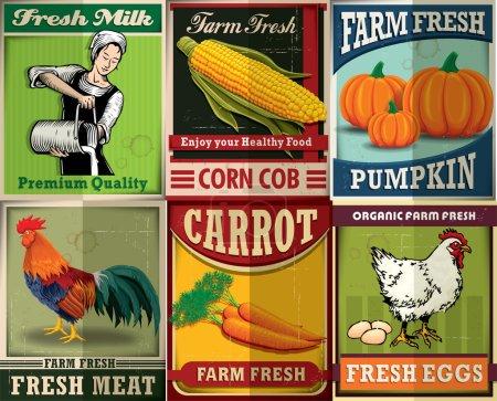 Illustration for Vintage farm fresh poster set design - Royalty Free Image