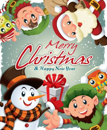 Vintage Christmas poster design with Santa Claus & elf