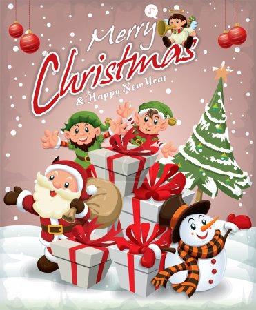 Vintage Christmas poster design with Santa Claus, Snowman, elf & angel