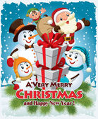 Vintage plakát vánoční design s Santa Claus, sněhulák, elf