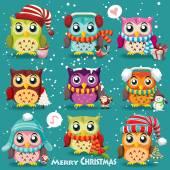 Vintage Christmas poster design with owls Santa Claus snowman